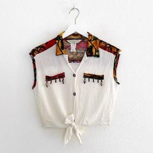 Vintage Beaded Crop Front Tie Top